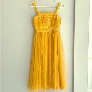Golden Yellow Swiss Dot Sleeveless Dress